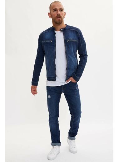 DeFacto Fermuarlı Jean Ceket Mavi